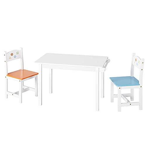Juego de Mesa y 2 Sillas para Niños Muebles Infantiles Mesa Infantil con Sillas Madera para Ñinos de 2-10 Años Blanco