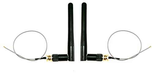 Intel AX200/AX201/7260/7265/8260/EM906/AC9560 - Juego de 2 cables de antena (2,4 G, 3 dBi, 20 cm, IPEX4(MHF4) a SMA hembra/hembra/hembra, WLAN/BT, tarjeta de red inalámbrica y BT