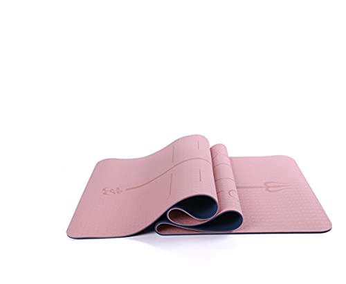 Esterilla de yoga, pilates, gimnasia TPE, antideslizante, con líneas de alineación para la postura corporal, esterilla de entrenamiento para todo tipo de yoga, pilates, dimensiones 183 x 61 x 0,6 cm