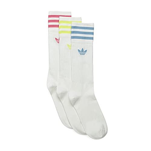 adidas Solid Crew Sock Socks, White/Pulse Yellow/Rose Tone/Ambient Sky, Medium Unisex-Adult