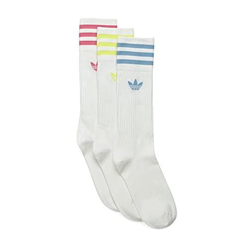 adidas Solid Crew Sock Socks, White/Pulse Yellow/Rose Tone/Ambient Sky, 43-46 Unisex-Adult