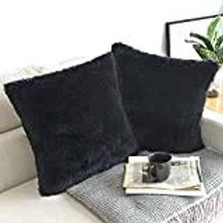NordECO HOME Luxury Soft Faux Fur Fleece Cushion Cover Pillowcase Decorative Throw Pillows Covers, No Pillow Insert, 20 x 20 Inch, Black, 2 Pack