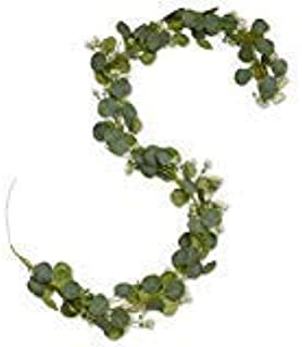 Artificial Eucalyptus Garland-Artificial Vines-Wall/Backdrop/Wedding/Floral/Table Runner/Decoration-Fake Greenery Leaves-Wreath Ivy-Hanging Rustic Garland-Faux Leaf And Vines-Ivy Garland(Green, White)