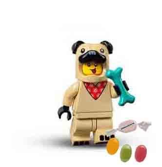 Lego 71029 - Minifiguras de la serie 21, nmero 5 hombres, con disfraz de carlino y 1 x mezcla de frutas y pegatinas