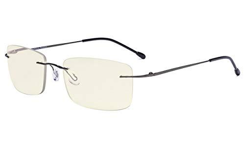 Eyekepper Randlose Gleitsichtbrille Multifokus- Blaulichtfilter Lesebrille Filter Damen und Herren Metallisch Blaugrau +3.00