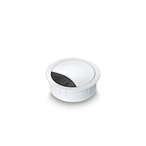 Eisnhauer® Kabeldose Edelstahl weiß lackiert 60 mm Bohrdurchmesser mit Bürstendichtung, abnehmbarem Deckel in vier Positionen arretierbar, Höhe ca. 21 mm, für die Kabeldurchführung mehrerer Kabel geeignet