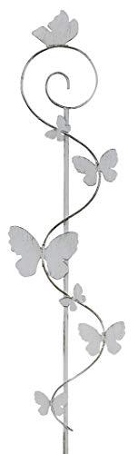 dekojohnson Moderne Gartendeko Gartenstecker Dekostecker mit 7 Schmetterlinge Pflanzenstecker Beetstecker Metallstecker weiß 22x2x109cm