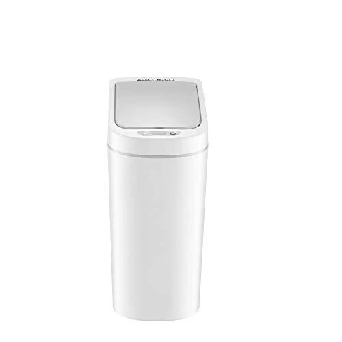 Aehma Abfalleimer fürs Bad mit Sensor automatischer Deckel Mülleimer Elektro mechanischer Öffnen und Schließen, 15 cm breit, 31 cm hoch, 23 cm lang (Weiß, 7 Liter)