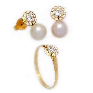 Gioielleria Julio - Set da Prima Comunione in Oro 18 K 750 ml con Perle da 6 mm e zirconi, Anello n. 15