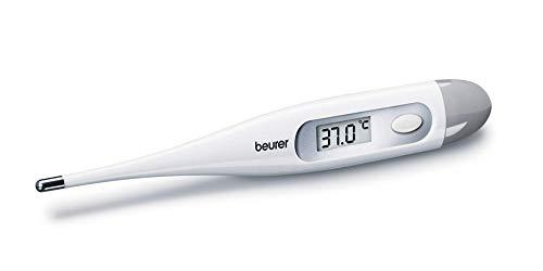 Beurer FT09 Termometro Digital y Corporal, Resistente al Agua, pantalla LCD con rango de medición +/- 0.1 ºC, señal acústica, sin Mercurio, sin Cristal, Color Blanco