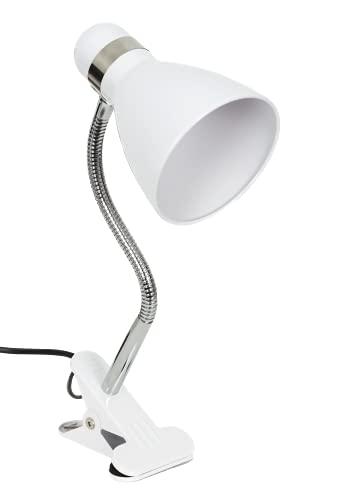 BEL AIR HOME - Lámpara Flexo con Pinza Para Escritorio 1xE27 Serie Sicion , con Cable con Interruptor (Blanco)