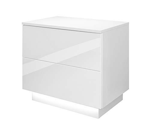Lukmöbel Nachttisch Lina mit Schubladen und LED Beleuchtung Push to Open System Weiß Hochglanz HG Schlafzimmer Nachtkonsole Nachtschrank Beistelltisch (weiß/weiß Hochglanz)