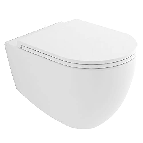 Alpenberger Spülrandloses Hänge-WC aus Keramik 53 x 36,5 cm | Antibakterielle Beschichtung Rimless Toilette inkl. abnehmbarem WC-Sitz mit Soft-Close | Wand-WC ohne Spülrand | Elegantes Design