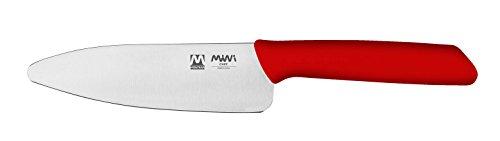 Montana Mini Chef Cuchillo de cocina rojo para niños, cuchillo chef con hoja de acero inoxidable al azoto 13 cm y mango ergonómico, cuchillos de cocina profesionales Made in Italy