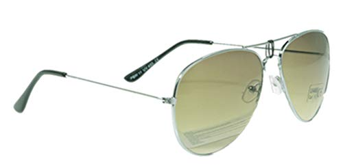 Unbekannt Pilotenbrille Sonnenbrille Fliegerbrille Pornobrille mit Federscharnier NICHT verspiegelt (Klar) (Farngrün Gläser/Silber Rahmen)