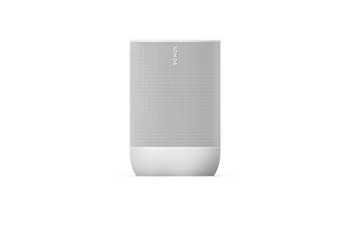Sonos Move Smart Speaker (Wasserfester WLAN und Bluetooth Lautsprecher mit Alexa Sprachsteuerung, Google Assistant und AirPlay 2 – Kabellose Outdoor Musikbox mit Akku für Musikstreaming) weiß