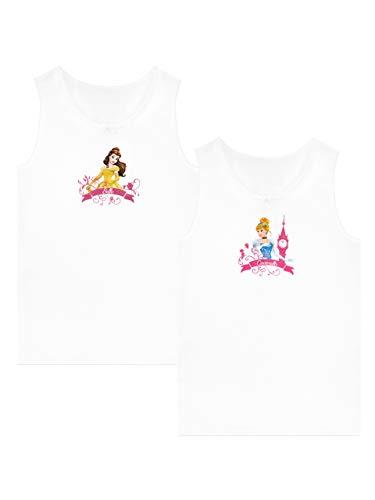 Disney Camiseta de Tirantes Paquete de 2 para Niñas Belle y Cinderella Blanco 7-8 Años