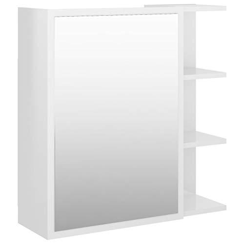 vidaXL Armario Espejo de Baño Inodoro Aseo Muebles Mobiliario Almacenamiento Estante Decoración Adorno Aglomerado Blanco Brillo 62,5x20,5x64 cm