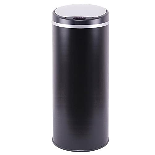 Poubelle de cuisine automatique 42L SOHO Noir mat en acier INOX avec cerclage