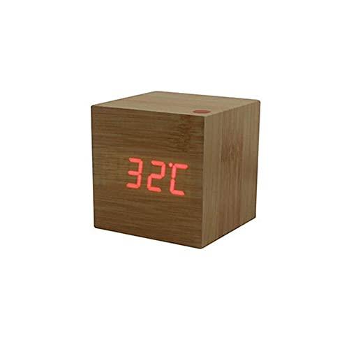 ZHAOHGJ Worth Having - Creativo Legno Digital Orologio da induzione di Moda Quadrato Orologio Naturale casa Camera da Letto Camera da Letto Sveglia Snooze Sveglia (Color : Brown)