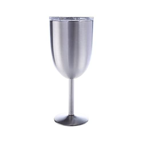 shiqi Copas de vino de acero inoxidable, 300 ml al vacío de acero inoxidable 304, copa de vino, ideal para uso diario, camping y picni (color plateado)