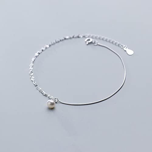 925 Sterling Silver Pearl Double Layer Anklets Bracelet Bangle For Women Fashion Silver 925 Jewelry