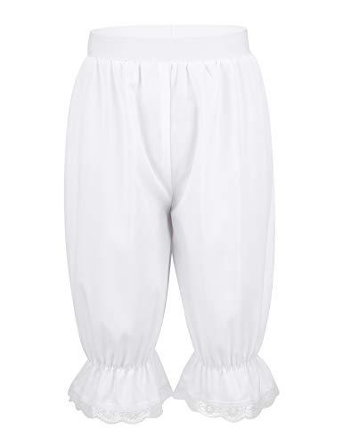 iixpin Mädchen Bloomers Hose viktorianische Rüschen Kürbis Pumphose Renaissance Zigeuner Hosen Shorts Cosplay Fasching Kostüm Weiß Weiß 134-140/9-10 Jahre