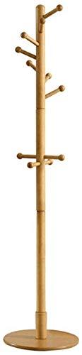 YLCJ Rubber houten kapstok voor kledingrek Stand-up stand voor kantoor/entree met 7 haken en ronde basis C
