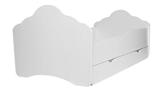 Cama blanca para niños con colchón y cajón, tamaño de 140 cm x 70 cm