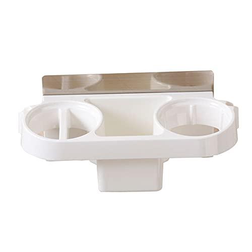 Yiiuii Tenedor de secador de Pelo Herramientas de Cabello Montado en la Pared Rack Autoadhesivo Multifuncional Multifuncional Cuarto de baño Almacenamiento Organizador Cesta (Blanco)