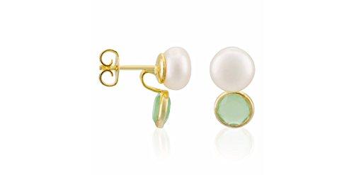 Córdoba Jewels   Pendientes en plata de Ley 925 bañada en oro, perla de cultivo natural y semipreciosa. Diseño Tú y Yo Esmeralda perla de cultivo natural