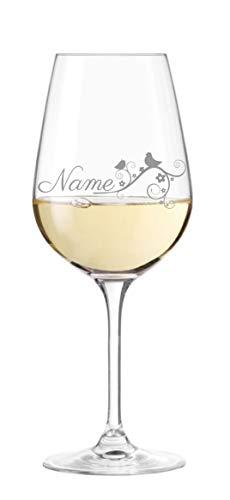 Leonardo Weinglas mit persönlicher Gravur und Naturdesign - Wunschname wählbar, Geschenkidee, Weihnachten, Geburtstag, Muttertag