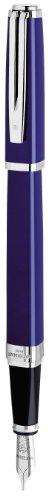Waterman Exception Füllfederhalter (Modell Slim) (blau mit Silber-plattiertem Clip, FederstärkeM, blaue Tinte, Geschenkbox)
