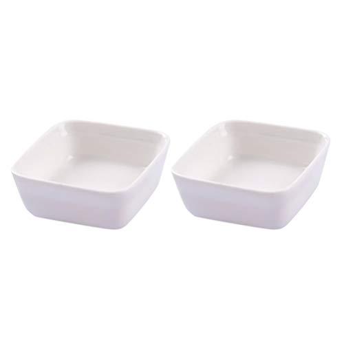 Cabilock Cuencos de cerámica mini cuadrados para salsas, especias, aperitivos, patatas fritas, frutas, salsas, salsas, salsas, salsas, salsas, aperitivos, etc. 2 unidades, color blanco