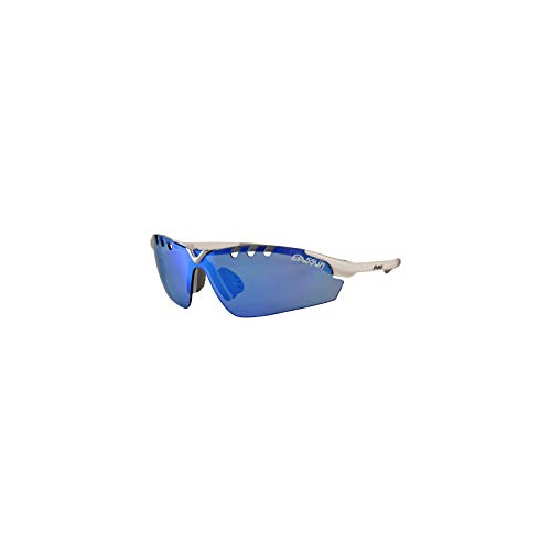 EASSUN Gafas de Running X-Light Sport, Solares Cat 2 o 3, Ultraligeras - Blanco, Azul Espejo, Cat 2