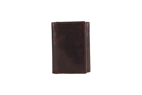 DUA RFID Mens Genuine Leather Trifold Luxury Wallet Card Holder Black & Brown (Brown)
