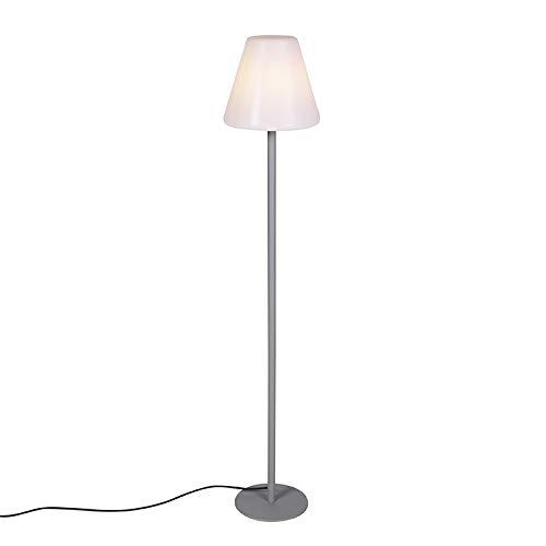 Qazqa Lampadaire extérieur | Lampe sur Pied de Jardin Moderne - Virginia Lampe Blanc Gris - E27 - Convient pour LED - 1 x 23 Watt