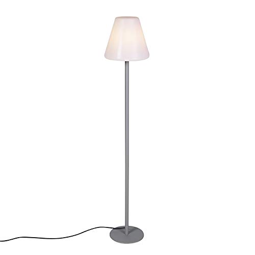 QAZQA Moderne Lampadaire/Lampe de sol/Lampe sur Pied/Luminaire/Lumiere/Éclairage d'extérieur moderne gris IP65 - Virginie Plastique/Acier inoxydable Blanc,Gris Rond/Oblongue E27 Max. 1