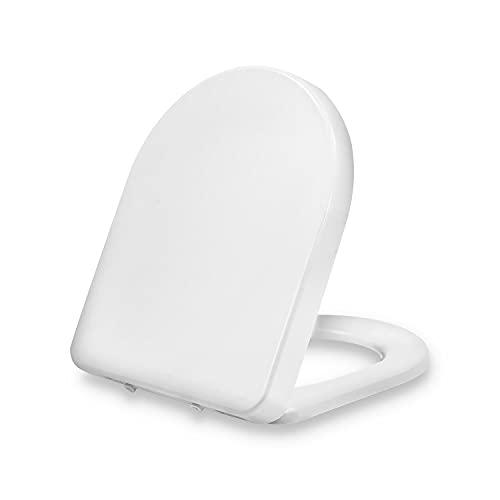 Dombach® Senzano Premium abattant de toilette blanc en forme de D - siège toilette antibactérien à fermeture amortie, amovible, ergonomique en Duroplast et inox siège de toilette, couvercle, lunette