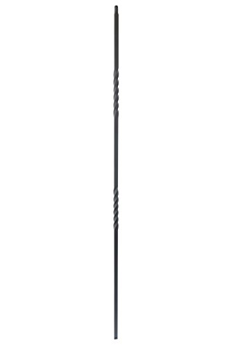 T03 - Iron Balusters - Double Twist - Hollow - 44 in X 1/2 in Square - Box of 15 (Satin Black)