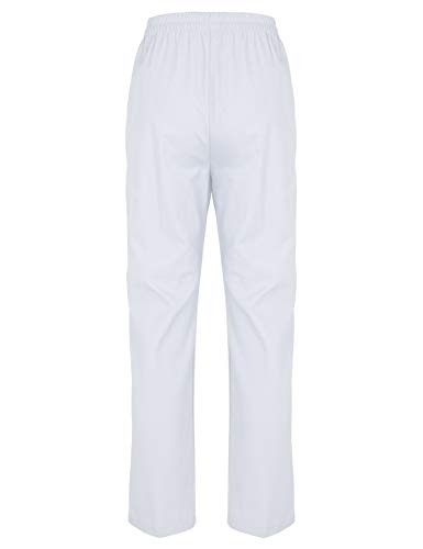 Freebily Damen OP-Hosen Pflegerhose Schwesternhose Arzt Uniformen Kleidung Krankenhaus Uniformhose Medizin Arbeitshosen Hosen mit Gummibund Weiß Medium
