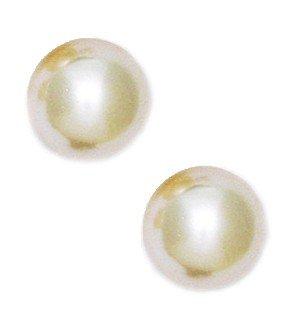 , Gelbgold (14 Karat) 10 mm, rund, goldfarben, Perle Ohrringe Swarovski-Element JewelryWeb