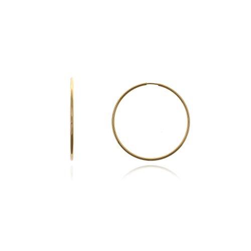 Joyeria Camps Pendientes de aro para Mujer Oro 18k Ley 750 1,5mm Grosor Tubo Redondo (Estuche DE Regalo)