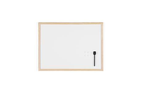 Bi-Office Budget - Tableau Blanc Magnétique, 60 x 45 cm, avec 1 Marqueur et 2 Aimants, Tableau à Mémo avec Cadre en Bois et Surface en Acier Laqué