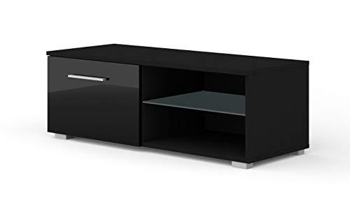 BIM Furniture TV Lowboard kast Mona 100 cm TV tafel dressoir TV commode hifi-tafel modern Zwart zonder led.