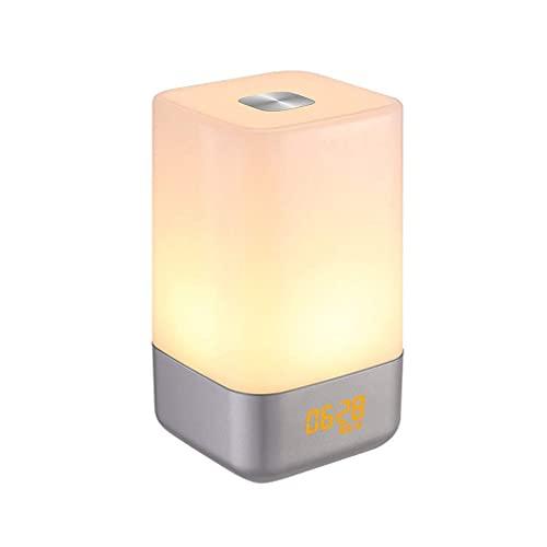 YGXR Home Bedside Clocks Wake up Light Alarm Clock, Desk/Table/Clock Touch Sensor Bedside Lamp Led Night Light with 5 Nature Sounds, Simulation, Color Changing, 3 Brightness, USB Rechargeable