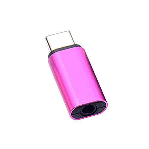 fuchsiaan Convertidor de 3.5mm Transmisión Estable Portátil Adaptador De Auricular De Metal Tipo-C Para Huawei - Rosa Rojo