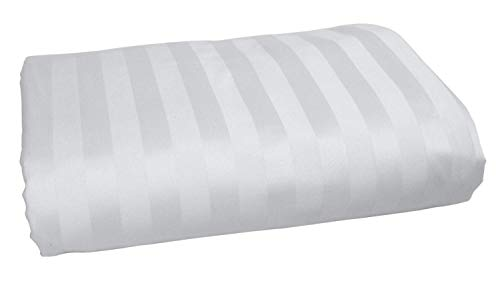 Incredible Beddings Top Selling Hotel Luxury Heavy Quality 1500-TC (1-PC) Flat Sheet (White Color, Stripe Style) Super Soft Egyptian Cotton Flat Sheet Queen Size (90 x 102)