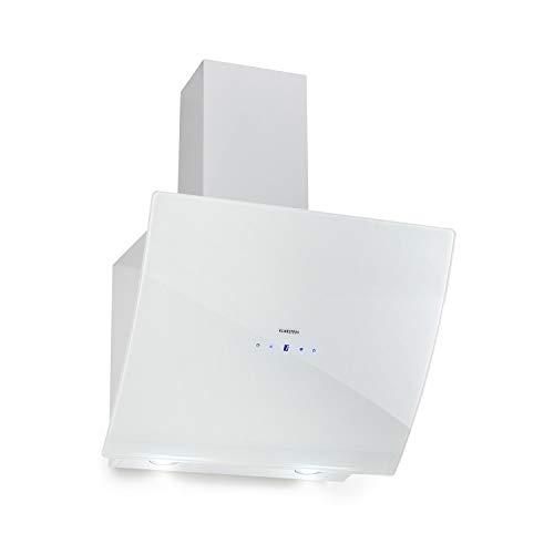 Klarstein Annabelle 60 Campana extractora - Extractor de humos de pared, Absorción y ventilación, Rendimiento de 650 m³/h, 230 W, Iluminación LED, Acero inoxidable, Panel táctil, Blanco