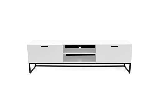 TENZO 2 offenen Fächern, 1 Klappe und 1 Schublade Bank Mello, lowboard, Board, Tv-möbel, Weiss lackeirt, Skandinavisches Design, Spanplatte Stahl lackiert, H53,5 x B176 x T43 cm